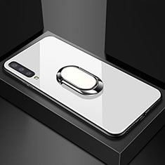 Coque Rebord Contour Silicone et Vitre Miroir Housse Etui avec Support Bague Anneau Magnetique pour Samsung Galaxy A70 Blanc