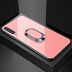 Coque Rebord Contour Silicone et Vitre Miroir Housse Etui avec Support Bague Anneau Magnetique pour Samsung Galaxy A70 Or Rose