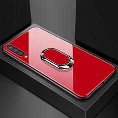 Coque Rebord Contour Silicone et Vitre Miroir Housse Etui avec Support Bague Anneau Magnetique pour Samsung Galaxy A70 Rouge