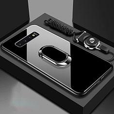 Coque Rebord Contour Silicone et Vitre Miroir Housse Etui avec Support Bague Anneau Magnetique pour Samsung Galaxy S10 5G Noir
