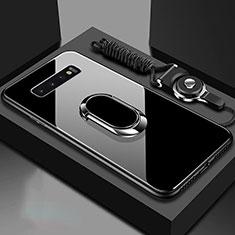 Coque Rebord Contour Silicone et Vitre Miroir Housse Etui avec Support Bague Anneau Magnetique pour Samsung Galaxy S10 Noir