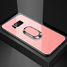Coque Rebord Contour Silicone et Vitre Miroir Housse Etui avec Support Bague Anneau Magnetique pour Samsung Galaxy S8 Plus Or Rose