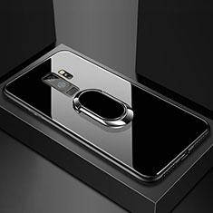 Coque Rebord Contour Silicone et Vitre Miroir Housse Etui avec Support Bague Anneau Magnetique pour Samsung Galaxy S9 Plus Noir