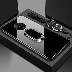 Coque Rebord Contour Silicone et Vitre Miroir Housse Etui avec Support Bague Anneau Magnetique pour Vivo Nex 3 Noir