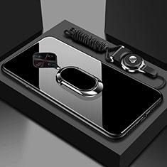 Coque Rebord Contour Silicone et Vitre Miroir Housse Etui avec Support Bague Anneau Magnetique pour Vivo X50 Lite Noir
