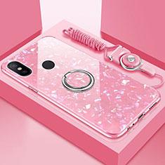 Coque Rebord Contour Silicone et Vitre Miroir Housse Etui avec Support Bague Anneau Magnetique pour Xiaomi Mi A2 Lite Rose