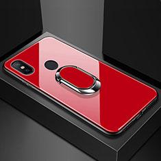 Coque Rebord Contour Silicone et Vitre Miroir Housse Etui avec Support Bague Anneau Magnetique pour Xiaomi Mi Max 3 Rouge