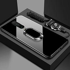 Coque Rebord Contour Silicone et Vitre Miroir Housse Etui avec Support Bague Anneau Magnetique pour Xiaomi Poco X2 Noir