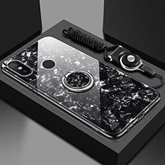 Coque Rebord Contour Silicone et Vitre Miroir Housse Etui avec Support Bague Anneau Magnetique pour Xiaomi Redmi 6 Pro Noir