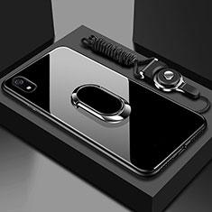Coque Rebord Contour Silicone et Vitre Miroir Housse Etui avec Support Bague Anneau Magnetique pour Xiaomi Redmi 7A Noir