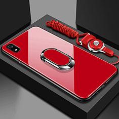 Coque Rebord Contour Silicone et Vitre Miroir Housse Etui avec Support Bague Anneau Magnetique pour Xiaomi Redmi 7A Rouge