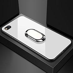 Coque Rebord Contour Silicone et Vitre Miroir Housse Etui avec Support Bague Anneau Magnetique pour Xiaomi Redmi Go Blanc