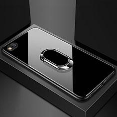 Coque Rebord Contour Silicone et Vitre Miroir Housse Etui avec Support Bague Anneau Magnetique pour Xiaomi Redmi Go Noir