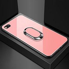 Coque Rebord Contour Silicone et Vitre Miroir Housse Etui avec Support Bague Anneau Magnetique pour Xiaomi Redmi Go Or Rose