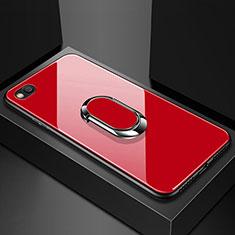 Coque Rebord Contour Silicone et Vitre Miroir Housse Etui avec Support Bague Anneau Magnetique pour Xiaomi Redmi Go Rouge