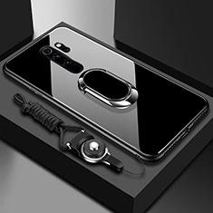 Coque Rebord Contour Silicone et Vitre Miroir Housse Etui avec Support Bague Anneau Magnetique pour Xiaomi Redmi Note 8 Pro Noir