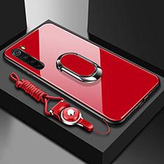 Coque Rebord Contour Silicone et Vitre Miroir Housse Etui avec Support Bague Anneau Magnetique pour Xiaomi Redmi Note 8 Rouge