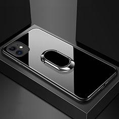 Coque Rebord Contour Silicone et Vitre Miroir Housse Etui avec Support Bague Anneau Magnetique T01 pour Apple iPhone 11 Noir