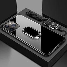 Coque Rebord Contour Silicone et Vitre Miroir Housse Etui avec Support Bague Anneau Magnetique T01 pour Apple iPhone 11 Pro Noir