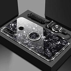Coque Rebord Contour Silicone et Vitre Miroir Housse Etui avec Support Bague Anneau Magnetique T01 pour Huawei Honor 20 Lite Noir