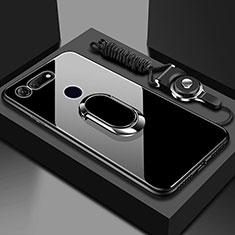 Coque Rebord Contour Silicone et Vitre Miroir Housse Etui avec Support Bague Anneau Magnetique T01 pour Huawei Honor View 20 Noir