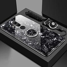 Coque Rebord Contour Silicone et Vitre Miroir Housse Etui avec Support Bague Anneau Magnetique T01 pour Huawei Mate 20 Lite Noir