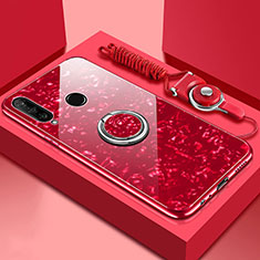 Coque Rebord Contour Silicone et Vitre Miroir Housse Etui avec Support Bague Anneau Magnetique T01 pour Huawei P30 Lite Rouge