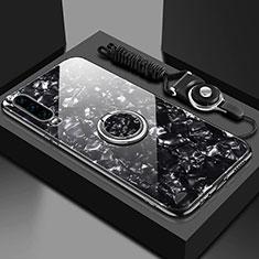 Coque Rebord Contour Silicone et Vitre Miroir Housse Etui avec Support Bague Anneau Magnetique T01 pour Huawei P30 Noir