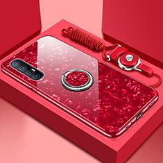 Coque Rebord Contour Silicone et Vitre Miroir Housse Etui avec Support Bague Anneau Magnetique T01 pour Oppo Find X2 Neo Rouge