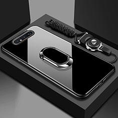 Coque Rebord Contour Silicone et Vitre Miroir Housse Etui avec Support Bague Anneau Magnetique T01 pour Samsung Galaxy A80 Noir