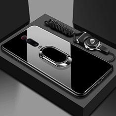 Coque Rebord Contour Silicone et Vitre Miroir Housse Etui avec Support Bague Anneau Magnetique T01 pour Xiaomi Mi 9T Pro Noir