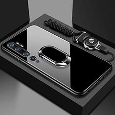 Coque Rebord Contour Silicone et Vitre Miroir Housse Etui avec Support Bague Anneau Magnetique T01 pour Xiaomi Mi Note 10 Noir