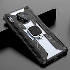 Coque Rebord Contour Silicone et Vitre Miroir Housse Etui avec Support Bague Anneau Magnetique T02 pour Huawei Mate 30 5G Noir