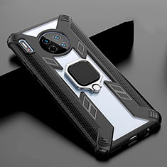 Coque Rebord Contour Silicone et Vitre Miroir Housse Etui avec Support Bague Anneau Magnetique T02 pour Huawei Mate 30 Pro Noir