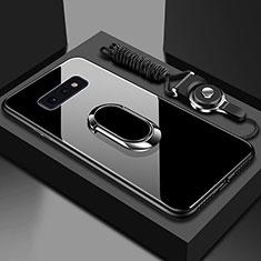 Coque Rebord Contour Silicone et Vitre Miroir Housse Etui avec Support Bague Anneau Magnetique T02 pour Samsung Galaxy S10e Noir