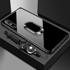 Coque Rebord Contour Silicone et Vitre Miroir Housse Etui avec Support Bague Anneau pour Huawei Enjoy 10e Noir