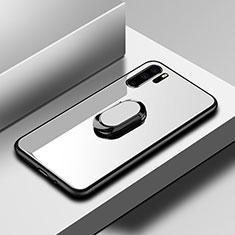 Coque Rebord Contour Silicone et Vitre Miroir Housse Etui avec Support Bague Anneau pour Huawei P30 Pro Blanc