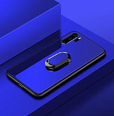 Coque Rebord Contour Silicone et Vitre Miroir Housse Etui avec Support Bague Anneau pour Huawei P30 Pro Bleu