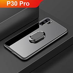 Coque Rebord Contour Silicone et Vitre Miroir Housse Etui avec Support Bague Anneau pour Huawei P30 Pro Noir