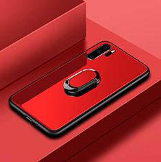 Coque Rebord Contour Silicone et Vitre Miroir Housse Etui avec Support Bague Anneau pour Huawei P30 Pro Rouge
