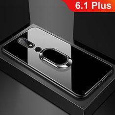 Coque Rebord Contour Silicone et Vitre Miroir Housse Etui avec Support Bague Anneau pour Nokia 6.1 Plus Noir