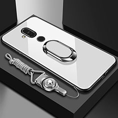 Coque Rebord Contour Silicone et Vitre Miroir Housse Etui avec Support Bague Anneau pour Nokia 7.1 Plus Blanc