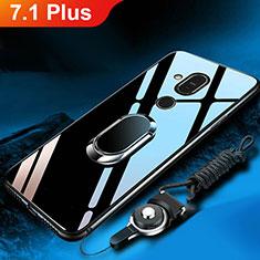 Coque Rebord Contour Silicone et Vitre Miroir Housse Etui avec Support Bague Anneau pour Nokia 7.1 Plus Noir