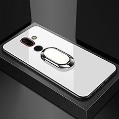 Coque Rebord Contour Silicone et Vitre Miroir Housse Etui avec Support Bague Anneau pour Nokia 7 Plus Blanc