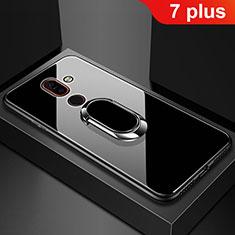 Coque Rebord Contour Silicone et Vitre Miroir Housse Etui avec Support Bague Anneau pour Nokia 7 Plus Noir