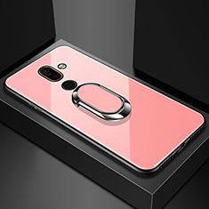 Coque Rebord Contour Silicone et Vitre Miroir Housse Etui avec Support Bague Anneau pour Nokia 7 Plus Or Rose