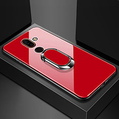 Coque Rebord Contour Silicone et Vitre Miroir Housse Etui avec Support Bague Anneau pour Nokia 7 Plus Rouge