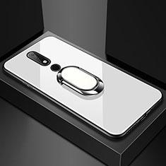 Coque Rebord Contour Silicone et Vitre Miroir Housse Etui avec Support Bague Anneau pour Nokia X6 Blanc