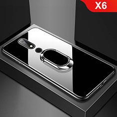 Coque Rebord Contour Silicone et Vitre Miroir Housse Etui avec Support Bague Anneau pour Nokia X6 Noir