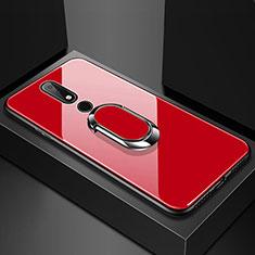 Coque Rebord Contour Silicone et Vitre Miroir Housse Etui avec Support Bague Anneau pour Nokia X6 Rouge